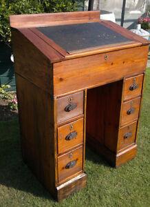 c1875 Antique Pine Stand Up Clerks Work Desk Bureau ~ Bar/Menu Station Console ~