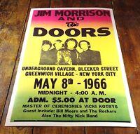 1966 JIM MORRISON & THE DOORS ROCK CONCERT MUSIC POSTER CAVERN NEW YORK CITY NY