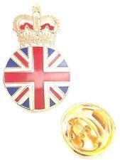 Union Jack & Royal Crown Quality Enamel Lapel Pin Badge T1059