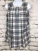Ann Taylor Sleeveless Top White Black Plaid Gingham Pleated Keyhole Sz Medium
