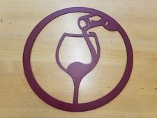 Wine Glass Bottle Metal Wall Art Plasma Cut Home Decor Gift Idea