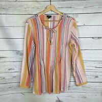 Ana Gauze Tunic Top Size Medium Womens Candy Striped Keyhole Tie Blouse Shirt