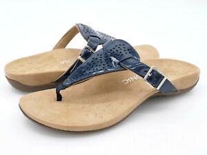 Vionic Womens 11W Rest Tropez Navy Patent Slip On T Strap Flip Flop Sandals