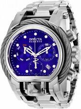 Invicta Men 52mm Bolt Zeus MAGNUM Polish Silver Blue Swiss Chron Dual Time Watch