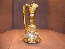 Museum Quality Spanish Art Glass Ewer / Carafe W/Rigaree & Enamel Decorations