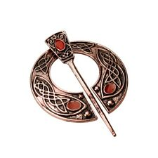 CELTIC VIKING RED GOLD VINTAGE PENANNULAR BROOCH SHAWL/KILT PIN WITH RED STONES