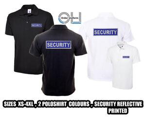 SECURITY Polo Shirt Reflective Black WorkWear Doorman Bodyguard Bouncer XS-4XL