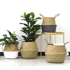 Flower Rattan Basket Seagrass Wicker Straw Folding Pot Planter Garden Storage