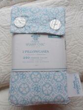 Shabby Chic King 2 Pillowcases Tonal Blue 250 Tc 100% Cotton Pre-Washed Nwt