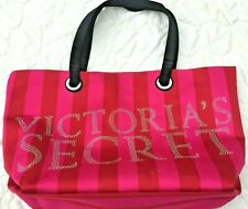 Victoria's Secret Tote Bag Pink Beach Logo Stripe Weekender Travel Large Canvas