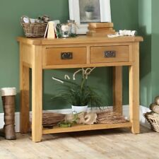 Hereford Rustic Oak 2 Drawer Hall Console Table - Telephone Low Shelf HR18