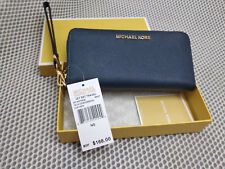 Genuine Michael Kors Saffiano Leather Jet Set Travel Purse strap Wallet navy hot
