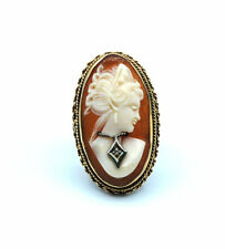 14k Yellow Gold Cameo Diamond Accent Antique Style Ring #E