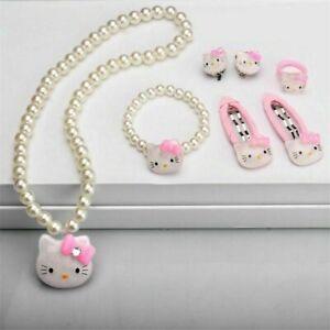 7/3 pcs  Kids Girls Princess Beads Necklace&Bracelet&Ring Set Jewelry Gift Tops