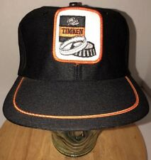 Vintage TIMKEN 80s USA Made Black Hat Cap Snapback Automotive Bearings Orange
