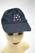 GIRLS  SPARKLY DENIM CAP WITH HEARTS IN PINK  100% COTTON ONE SIZE