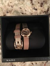 Marc Jacobs Leather Double Band Bracelet Watch Gold And Tawny Brown New In Box
