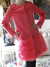 New RED VALENTINO Ostrich Feather,Coral/Pink dress-y coat/jacket It 40,2-4,XS-S