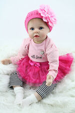 Reborn Baby Doll Soft Silicone Lifelike Girl Gift Children Pink Head Dress 22''