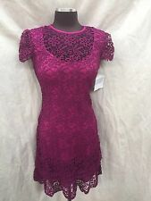 ANNE KLEIN DRESS/NEW WITH TAG/SIZE 14/LACE DRESS/RETAIL$149/LINED/MAGENTA