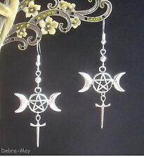 Triple Luna Wicca Pagano athame Pentagrama Celta colgantes pendientes