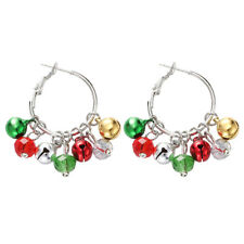 Christmas MulitColor Jingle Bells Hoop Earrings for Women&Girl's Hypoallergenic