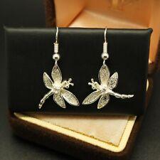 STERLING SILVER 925 JEWELLERY Pretty White Topaz Drop Dangle Dragonfly EARRINGS