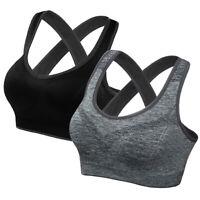 Femme Padded Soutien-gorge Brassière Sport Yoga Sans Armature Lingerie Push Up