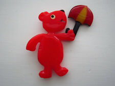 Shultz Signed Bakelite Red Dog Pin Carved with Laminated Umbrella & Injected Eye