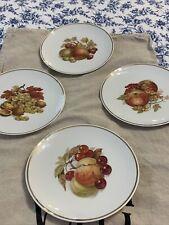 """Hutschenreuther Bavaria Set of 4 Vintage Fruit Plates Gold Trim 8"""""""