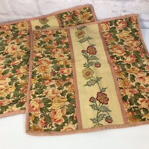 Set 2 APRIL CORNELL Embroidered Pillow Covers Pink Green Yellow Cottage Florals