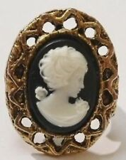 bague bijou vintage panier ajouré camée buste femme réglable couleur or 1899