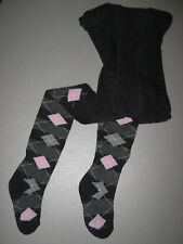 Cotton Tights Girls Argyle Diamond Blue Navy Gray Pink Fits 2-10 years Very Soft