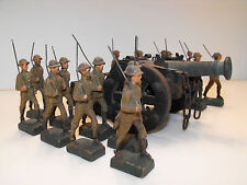 Antique Strola Composite Toy Soldiers / Germany / Wwi Infantry / 16 Figures Rare