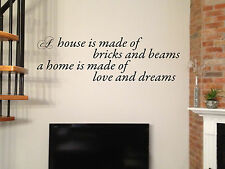 """42"""" HOUSE LOVE & DREAMS LETTERING QUOTE DECAL STICKER WALL ART"""
