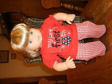 """Handmade Bitty Baby Girl """"My First 4th"""" tee/red&white checked pants/socks 702"""
