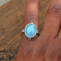 Natural Aquamarine Gemstone 925 Sterling Silver Ring Size 9 , March Birthstone