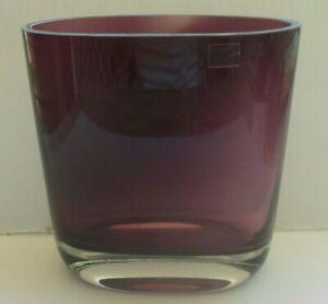 Mid Century Modern Heavy Hand Made Cranberry Art Glass Vase by Visla Poland