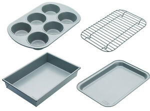 Chicago Metallic Non Stick 4 Piece Starter Bakeware Set - Tray, Cake Tin, Muffin