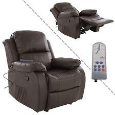 Fernsehsessel mit Vibrationsmassage und Wärmefunktion aus Kunstleder in braun