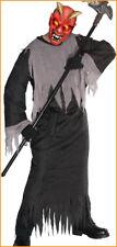 DEVIL HALLOWEEN COSTUME BLACK AND GRAY ROBE MASK FLASHING STROBE LIGHT CHILD M