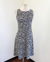 Michael Kors Black White Zebra Print Fit and Flare Dress Cutout Back Size S