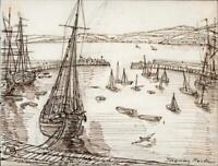 HANNAH SARAH TURNER BRIGHTWEN Small Pen & Ink Drawing TORQUAY HARBOUR c1865