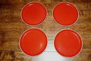 COLO BURST ONEIDA DINNER PLATE RED WHITE LOT 4 EUC
