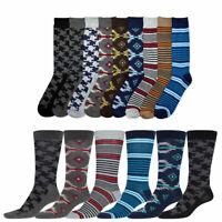 6 Pairs Mens Dress Socks Men Fashion Assorted Print Crew Design Stripe 10-13 Lot