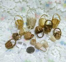 17 Vintage Miniature Wicker Baskets Easter Bamboo Dollhouse Fairy Garden Crafts