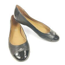 Coach Chelsea Flats Shoes Black Leather Women's 7.5 B Cap Toe Silver Logo