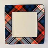 """Gift Collection by Tommy Hilfiger Plaid Appetizer Plates Red White Blue 7"""" EUC"""