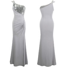 Angel-fashions Women's One Shoulder Ruched Pleated Sequins Split Formal Gown 399
