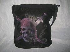 Black Pirates of The Caribbean Skull Messenger Tote Canvas Shoulder Book Bag